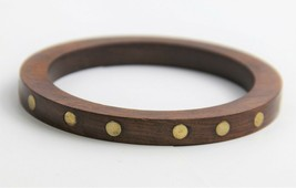 VINTAGE ESTATE Jewelry MID CENTURY MODERN WOOD BANGLE BRACELET BRASS DOT... - $10.00