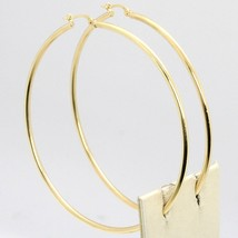 18K YELLOW GOLD ROUND CIRCLE EARRINGS DIAMETER 60 MM, WIDTH 2 MM, MADE IN ITALY image 1