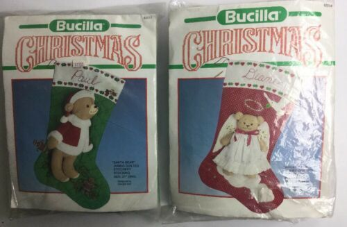Primary image for Two Bucilla Christmas Felt Stocking Bear Angel Kits 82514 & 82512