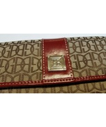 Giani Bernini Canvas Leather Tri-fold Signature wallet Brown Red New, no... - $13.00