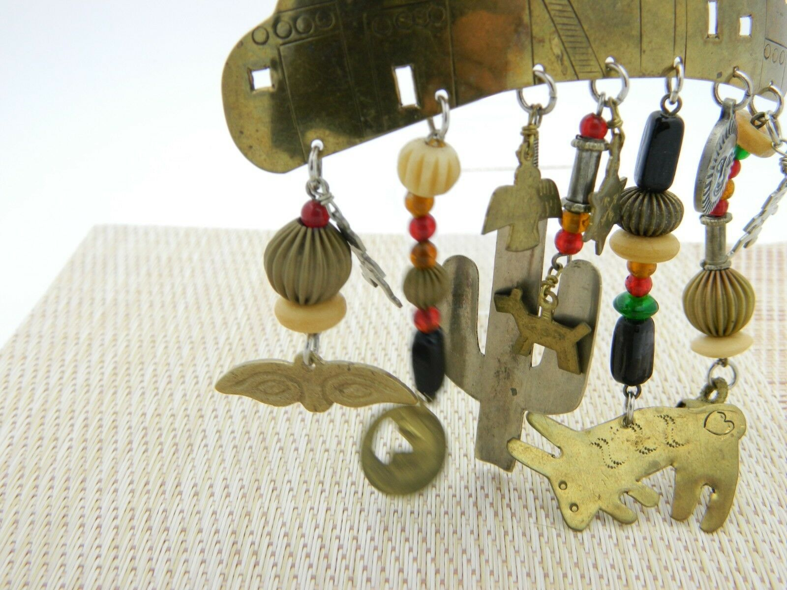Southwest Mix Material Dangle Brass Charm Pin Brooch Vintage image 2