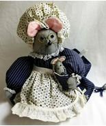 Handmade Felt Ms Mouse & Baby Plush Stuffed Toy Huggable Lovable Gray B... - $66.99