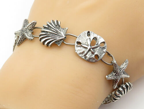 925 Sterling Silver - Vintage Sea Shell Starfish Charmed Chain Bracelet - B6149