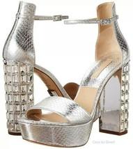 $795 Michael Kors Chunky Crystal Heel Nikki Silver Sandal Shoe 8 - 38 Pump  - $273.00