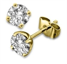 18k Gold Plated Round Cut White Cubic Zircon Solitaire Stud Earrings Free Ship - £16.85 GBP