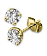 18k Gold Plated Round Cut White Cubic Zircon Solitaire Stud Earrings Fre... - £15.95 GBP