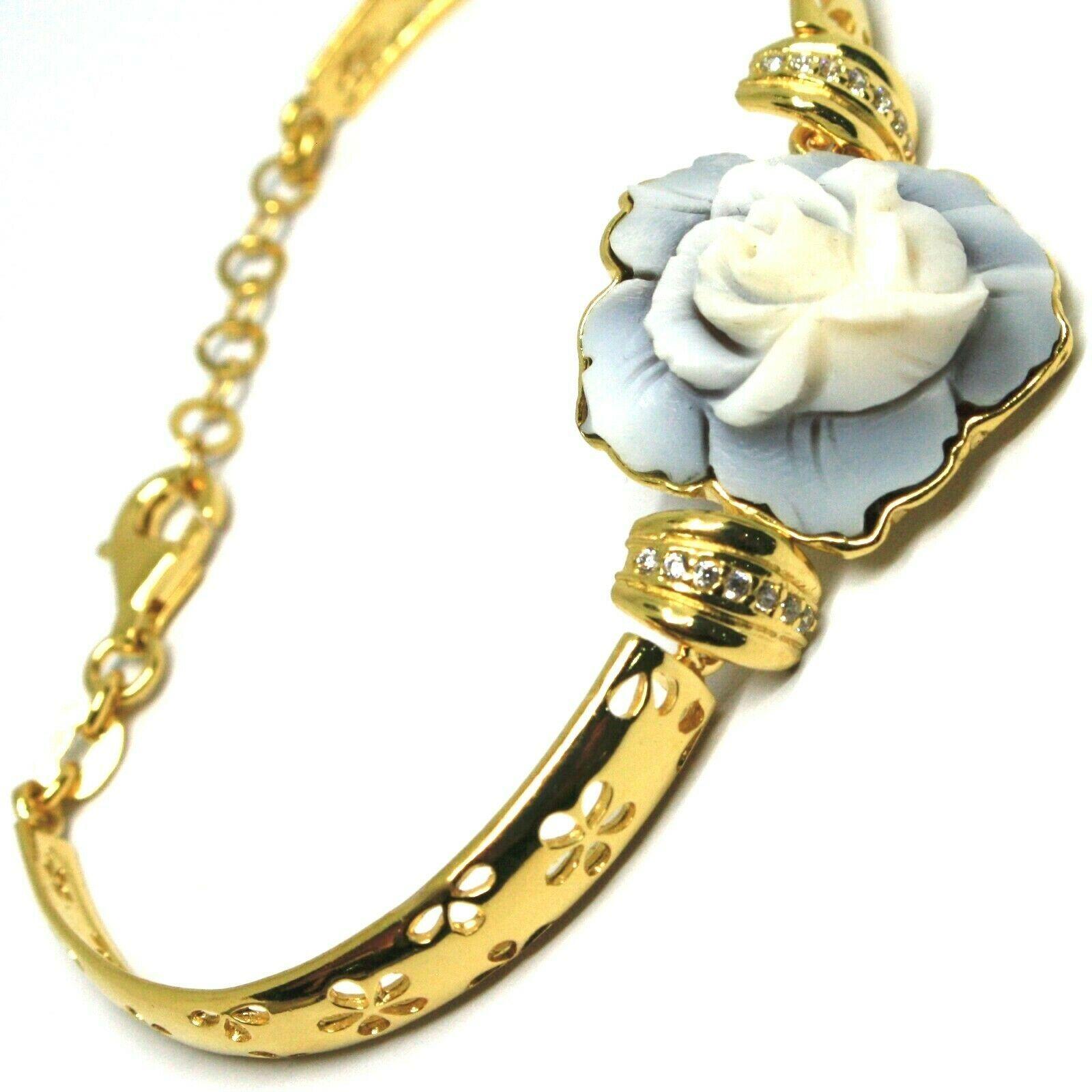 925 Silver Bracelet, Cameo, Shell Cameo, Pink, Flower, Semi Hard