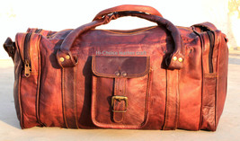 """X mass 25""""Mens Vintage Brown Genuine Leather Goat Travel Duffle Luggage ... - $83.26"""