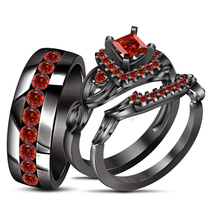 14k Black Gold Finish 925 Silver Red Garnet His & Her Engagement Trio Ring Set - $167.89