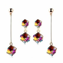 Multicolor Stone Drop Cube Long Crystal Earring Fashion Jewelry Dangle W... - $6.99