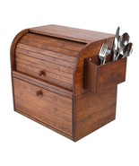 Natural Bamboo 2 Layer Bread Boxes for Kitchen Food Storage Removable La... - $115.06+