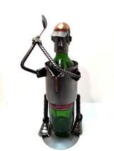 Golf Wine Bottle Holder Stainless Steel Golfer Handmade Copper Trim 14.5... - $33.66