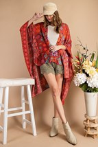 Scarf Printed Rayon Crepon Kimono - $40.00