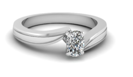 2.90MM Oval Diamond Solitaire Engagement Ring 14K White Gold 0.30 Ct FG/SI  - $692.00