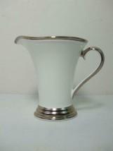 Lenox Dimension II Collection Creamer Solitaire White Porcelain Platinum Trim - $38.01