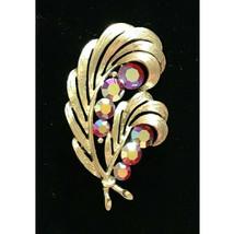 Vintage Signed Lisner Gold Tone AB rhinestone Brooch Pin 2.25 inch swirl... - $24.74