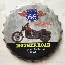 Route 66 Mother Road Motorcycle high quality embossed beer bottle cap de... - $18.39