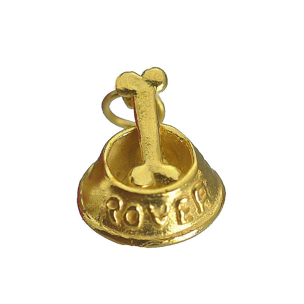 Primary image for 24kt gold plated over real genuine sterling silver .925 Dog bowl pet puppy bone