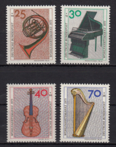 1973 Musical Instruments Set of 4 Germany Stamps Catalog Number B503-06 MNH