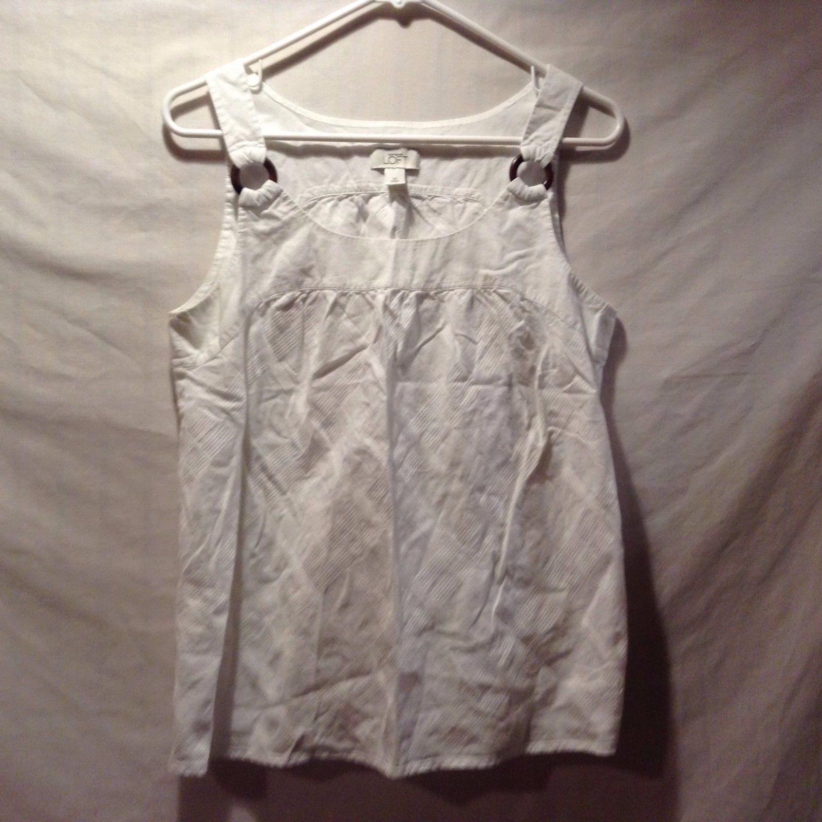 Ann Taylor LOFT White Summer Sleeveless Subtle Checked Tank Sz M