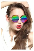 Gee-Look Oversized Round Circle Mirrored Hippie Hipster Sunglasses - Met... - $18.06