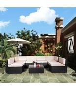 Deluxe Set of 7 Pcs Patio Outdoor Comfortable Stylish Design Rattan Wick... - $763.29
