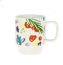 Starbucks Spring Pink Floral Ceramic Stackable Coffee Cup Mug 12 oz 2016 - $19.39