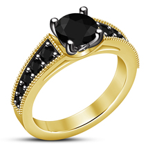 14k Yellow Gold Plated 925 Silver Round Cut Black CZ Engagement Anniversary Ring - $78.14
