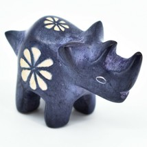 Hand Carved Kisii Soapstone Tiny Miniature Dark Blue Rhinoceros Rhino Fi... - $10.88