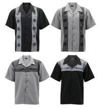 Men's Casual Two Tone Biker Cross Premium Guayabera Bowling Dress Shirt image 1