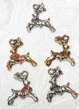 REINDEER CHRISTMAS FINE PEWTER PENDANT CHARM - 4mm L x 19mm W x 17mm D