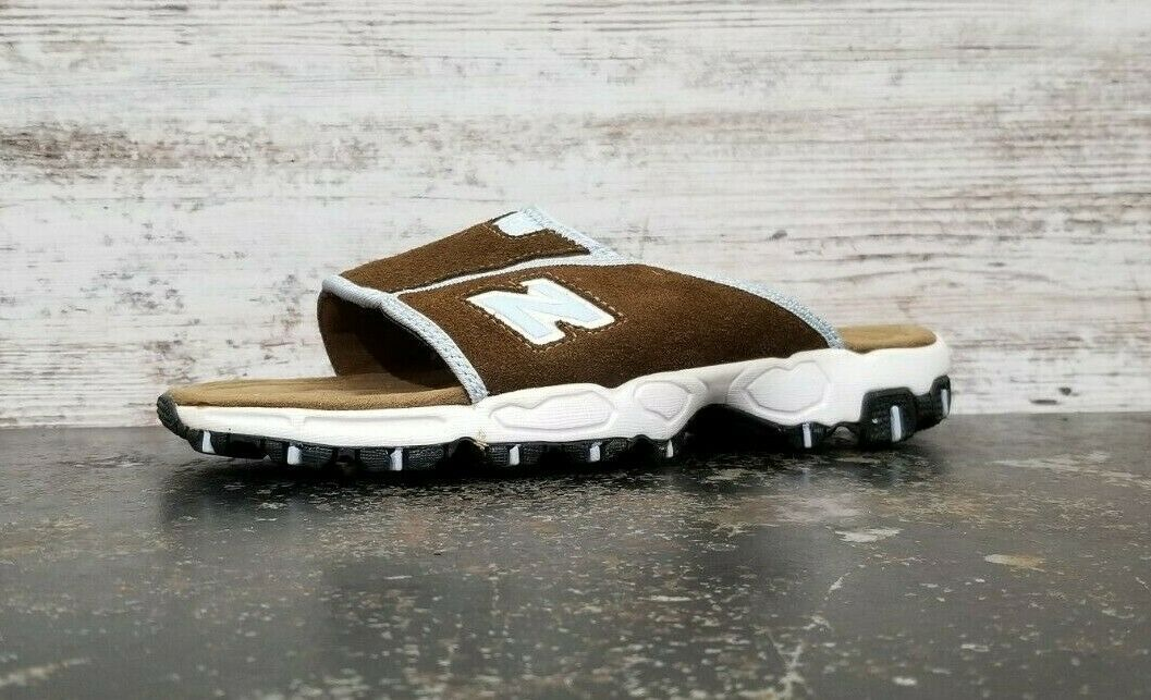 Primary image for Womens New Balance 801 Slip On Sandals Sz 7 B Used Brown Suede SDW801SB Walking