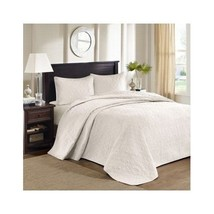 King Quilted Bedspread Set Microfiber Ivory Lightweight Floral Cottage C... - $170.27