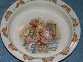 Royal Doulton Bunnykins- Baby Plate /Child's Bowl -Home Decorating Wallpaper EUC image 5