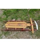 Sport Treasure Vintage Flexible Flyer Sled Wood Metal Safety Runners Sup... - $71.24