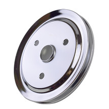 CHEVY SMALL BLOCK SINGLE-GROOVE STEEL SHORT WATER PUMP CRANKSHAFT PULLEY CHROME image 8