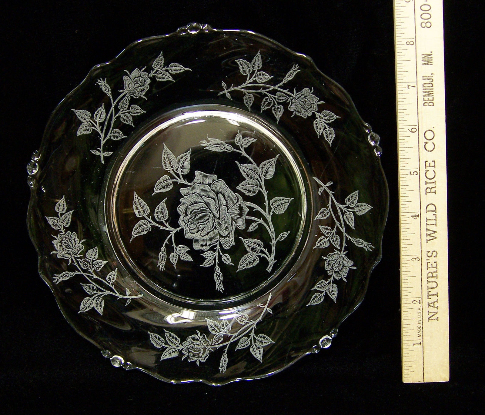 "Primary image for Heisey Rose Salad Dessert Plate Glass Crystal 8"" Diameter Etched Textured Design"