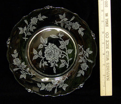 "Heisey Rose Salad Dessert Plate Glass Crystal 8"" Diameter Etched Texture... - $13.85"