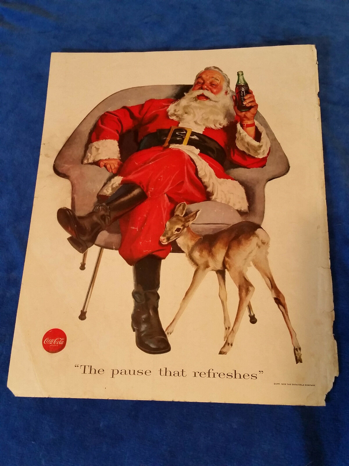 "Primary image for 1956 Original Coca Cola Magazine ad Santa and Baby Deer 10 3/4""x13 3/4"""