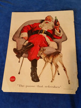 "1956 Original Coca Cola Magazine ad Santa and Baby Deer 10 3/4""x13 3/4"" - $17.05"