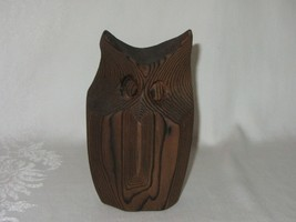Vintage Natural Carved Wood Owl Figurine Abstract Folk Art Wood Grain - $29.69