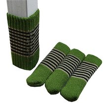 Stripe Pattern Knitted Floor Protectors Pads Pack of 24 - Green - $18.25