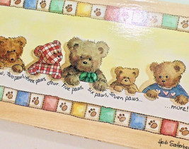 Teddy Bears In A Row Rubber Stamps Happen One Paw Two Paws Heidi Satterberg Wood - $15.82