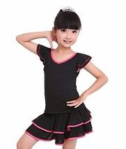 Girls Performance Dress Short Sleeve Latin Dance Dress PINK, 120CM Height