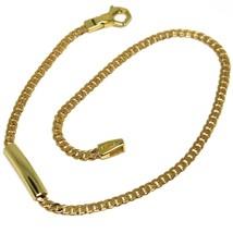 BRACELET YELLOW GOLD 18K 750, CURB CHAIN FLAT, MINI PLATE, LENGTH 20.5 CM image 1