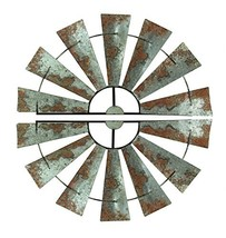 Special T Imports Pair of Distressed Metal Half Windmill Wall Sculptures