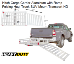Hitch Cargo Carrier Aluminum with Ramp Folding Haul Truck SUV Mount Tran... - $331.55