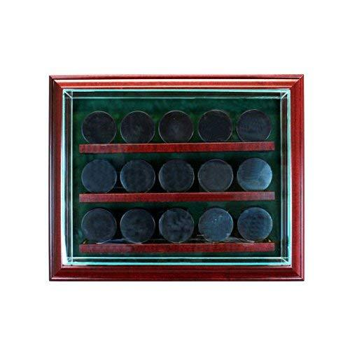 Glass 15 Hockey Puck Cabinet Style Display Case