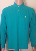 Ralph Lauren Mens Long Sleeve Jade Green Polo Shirt Classic Fit Small - $58.54