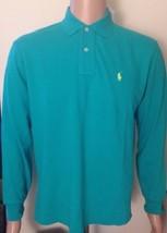 Ralph Lauren Mens Long Sleeve Jade Green Polo Shirt Classic Fit Small - $58.54
